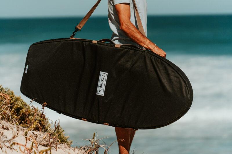 foilboard, hydrofoil, larry foiler, board bag, board cover, foil surfing, wing foil, recycled, canvas, heavy duty, travel bag, foilboarding, lfsupply, adventure series